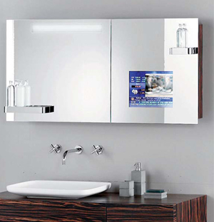 Mirrored TV set for the bathroom